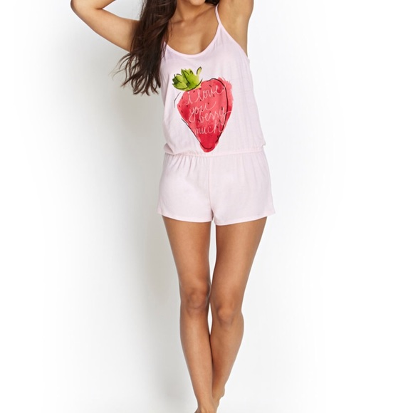 c90c071b8e82 Forever 21 Other - Forever 21 I love you berry much pajama romper